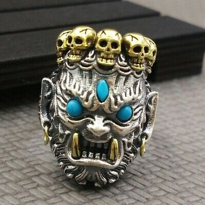 925 STERLING SILVER Skull King Men's Punk Hiphop Ring Jewelry S3308