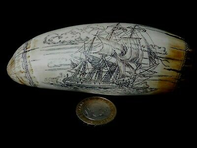 "Ghost Ship ""The Brandenberg"" & Royal Coat of Arms Faux Scrimshaw Museum Quality"