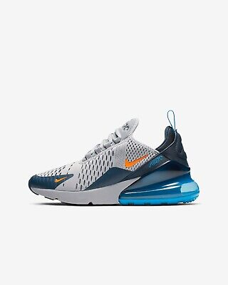 best website 1d88a 7aad6 BOYS JUNIORS NIKE Air Max 270 GS Kids Trainers Grey Navy Blue Orange 943345  015