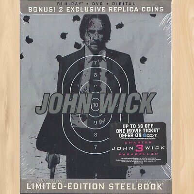 +2 EXCLUSIVE Replica Coins--> JOHN WICK Chapter 1 STEELBOOK Blu-ray + DVD   0610
