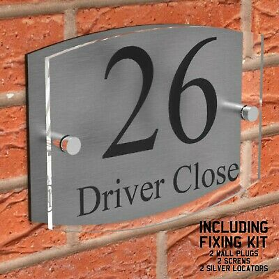 Contemporary House Sign Plaques Door Number Personalised Name Plate WITH FIXINGS