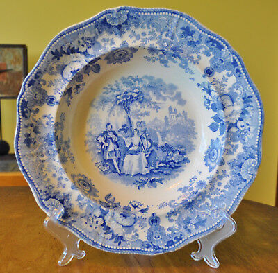 Antique Staffordshire Soup Plate Transferware Scott's Illustrations Waverley