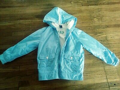 GAP Kids Girls S 5/6 light Blue Hooded terry cloth Lined Rain coat Wind breaker