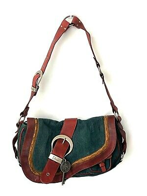 Christian Dior Gaucho Double Saddle Green Jeans Brown Red Leather Shoulder Bag