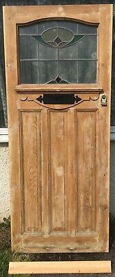 Period Front Door 1920s 30s Leaded Stained Glass Solid Pine Edwardian Reclaimed