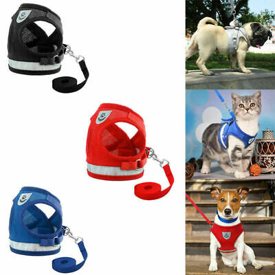 Leash Small Pet Control Harness Dog Cat Soft Mesh Walk Collar Safety Vest SPE