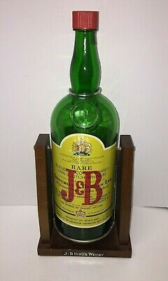 J&B Scotch Whisky Gallon Empty Bottle w/ Wooden Decanter Swinging Stand RARE