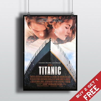 TITANIC 1997 MOVIE POSTER DiCaprio & Winslet Film A3 A4 Fan Art Print Wall Decor