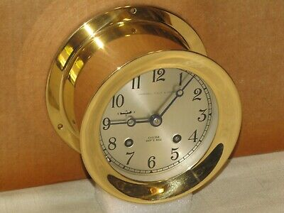 """Chelsea  Vintage Ships Bell Clock~4 1/2"""" Dial~1979~Mint Condition"""