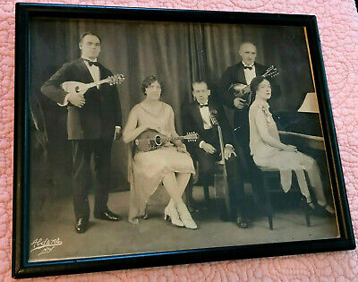 Antique Photograph Mandolin Band Flapper Musicians String Band Aldene NY 1920s