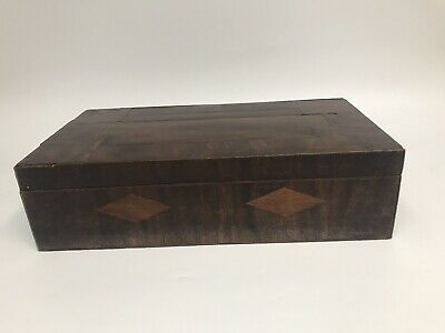 Victorian 19th Century antique Mahogany inlaid work jewellery box