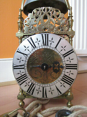 REDUCED Old Signed Brass Single Hand Lantern Clock with Hook and Spike c1690