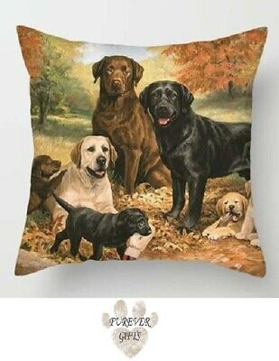 "Labrador Dog Cushion Cover Polyester Square 18"" Sofa Quality Gift Free P&P"