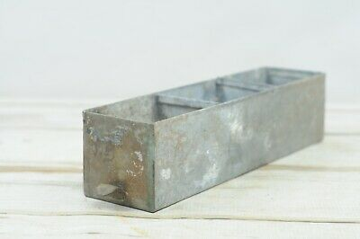 Vintage Galvanized Metal Divided Drawer Vintage Metal Box Industrial Decor #6
