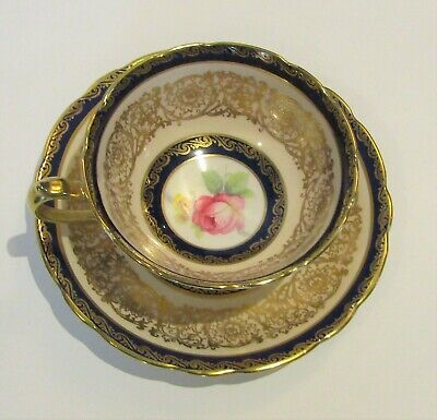 Vintage Double Warrant Paragon Teacup and Saucer - Cobalt and Light Peachy Pink