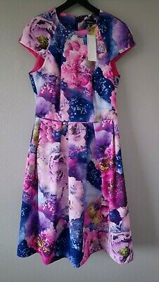 86aac7c1f BNWT warehouse floral dress size 10 purple pink blue lilac wedding party