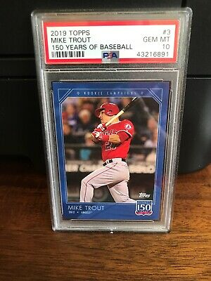 2019 Topps 150 Years of Baseball Mike Trout Baseball Card #3 PSA 10 Gem Mint