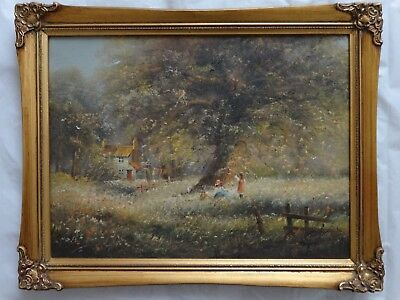 TED DYER OIL ON CANVAS PAINTING, Signed Framed, Children flying kite & cottage
