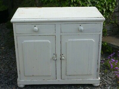 Vintage Pine Cabinet with Cupboards & Drawers - Painted White -