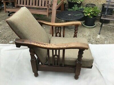 Vintage Antique Armchair 1930'S - 50'S Solid Oak Art Deco Arts & Crafts
