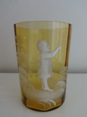 Antique Mary Gregory Victorian Hand Enamelled Amber Glass