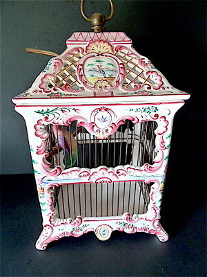 Chandelier Lamp Bird Cage Faience Ceramic Romantic Seed st Louis XV