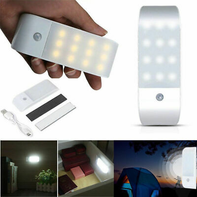 Rechargeable USB 12 LED Motion Sensor Induction Night Light Cabinet Lamp SPE