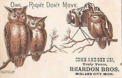 """1880s Victorian Advertising Trade Card """"OWL RIGHT DON'T MOVE"""" Camera Photography"""