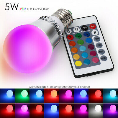 5W E26 RGB LED Bulb Light Multi Color Change Magic Memory Lamp+IR Remote Control