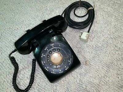 Vintage 1950's Western Electric Bell System Black Rotary Dial Desk Phone C/D 500