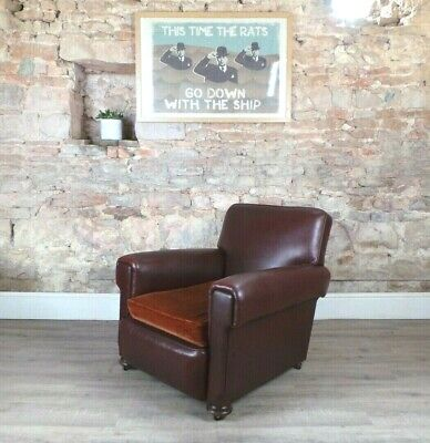 Vintage 1930s antique leather effect vinyl brown club chair armchair DELIVERY