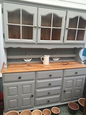 Farmhouse Painted pine Welsh dresser laura ashley grey  large glazed display