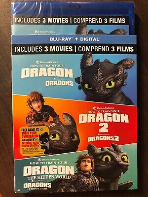 How To Train Your Dragon 1 2 3 Movie Collection Blu-Ray The Hidden World LOOK