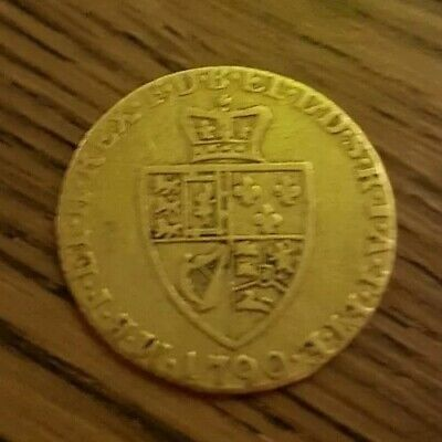 1790 KING GEORGE III HALF GUINEA 22CT GOLD COIN BRITISH MILLED 4.2g