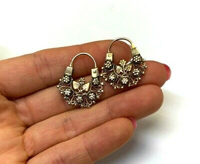 Ornate Antique Victorian Floral Hoop Earrings Solid 10K Gold