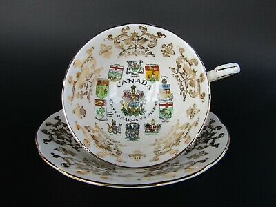 Beautiful Vintage Paragon Teacup and Saucer - Canada Coats of Arms and Emblems