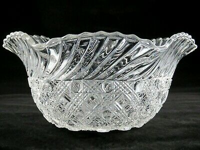 """Antique EAPG Bryce Brothers PURITAN 9"""" Glass Bowl Windsor Button & Cane, Swirl"""