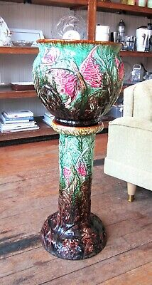 Multi Color Majolica / Weller / Roeseville  Butterfly Jardiniere And Pedestal