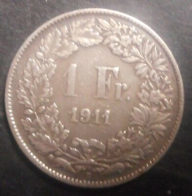 Switzerland 1911 1 Franc Silver Coin  Nice Better Detail