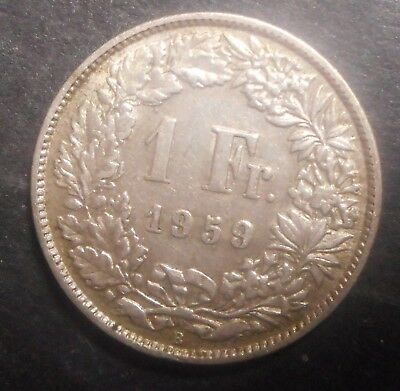 Switzerland 1959 1 Franc Silver Coin  Nice