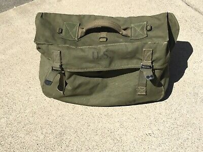 1945 Original WW2 US Army Rubber Lined LARGE Canvas Field Bag Midland Fabrics Co