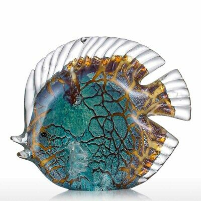 Colorful Spotted Tropical Fish Tooarts Glass Sculpture Home Decoration Gift K0X1