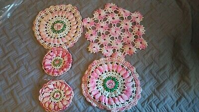 Vintage Lot Pink Lace Crochet Tatting Knitting Doilies Gorgeous Flower Handmade