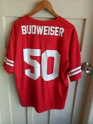 Budweiser #50 American Football Jersey Short Sleeve Shirt Beer Red Adult Large