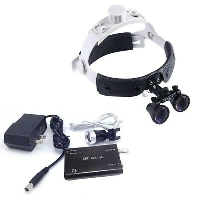 Dental Surgical Leather Headband Loupe DY-108 3.5X-R with LED Headlight Black