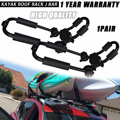 APair Universal Roof JBar Rack For Kayak Boat Canoe On Car SUV Top Mount Carrier