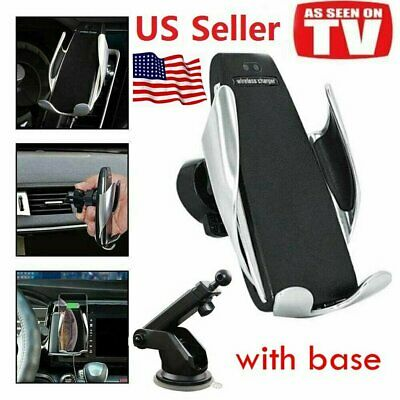 Auto-Clamping Wireless Car Charger Air Vent Phone Holder Mount & Base Fast Ship
