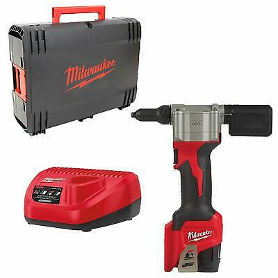 Milwaukee M12BPRT-201X Pop rivet tool kit with 1 x 2ah battery and charger each