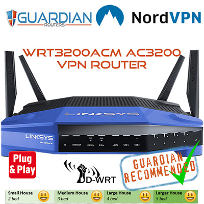 LINKSYS WRT3200ACM DDWRT Nord VPN Router Guardian Recommended 'plug & play'