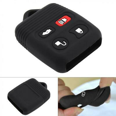 4 Buttons Silicone Car Key Case Protector Holder Black fit for Ford Winds